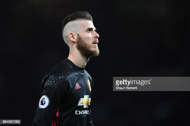 David De ea of Manchester United looks on during the Premier League match between Manchester United and Everton at Old Trafford on April 4 2017 in...