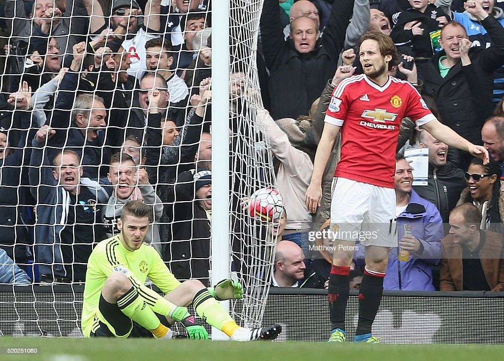 David de Gea and Daley Blind of Manchester United react to conceding a goal to Dele Alli of Tottenham Hotspur during the Barclays Premier League match between Tottenham Hotspur and Manchester United at White Hart Lane on April 10 2016 in London, England