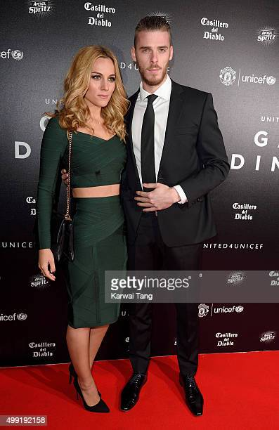 David de Gea and Edurne Garcia attend the United for UNICEF Gala Dinner at Old Trafford on November 29 2015 in Manchester England