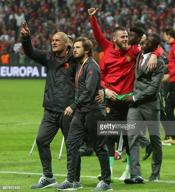 David de Gea and Eric Bailly of Manchester United celebrate after the UEFA Europa League Final match between Manchester United and Ajax at Friends...
