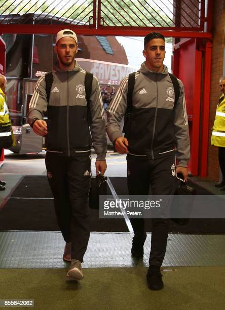 David de Gea and Joel Pereira of Manchester United arrives ahead of the Premier League match between Manchester United and Crystal Palace at Old...