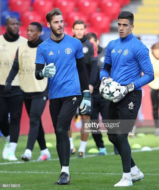 David de Gea and Joel Pereira of Manchester United in action during a training session ahead of their UEFA Champions League match against CSKA Moscow...