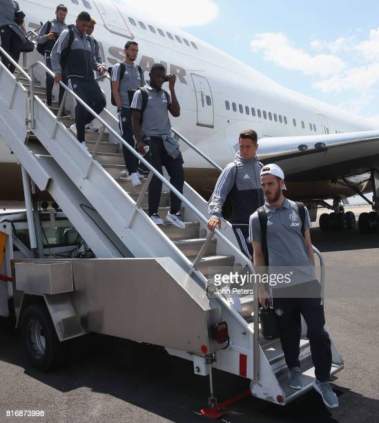 David de Gea Ander Herrera Timothy FosuMensah and Matteo Darmian of Manchester United arrive in Salt Lake City ahead of the preseason friendly match...