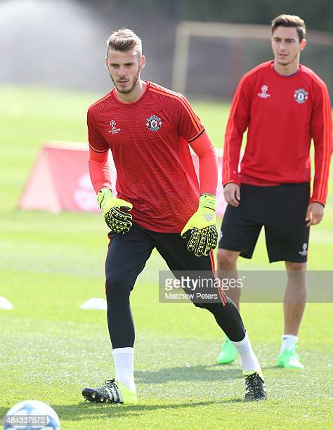 David de Gea in action during a first team training session ahead of their UEFA Champions League playoff first leg match against Club Brugge at Aon...
