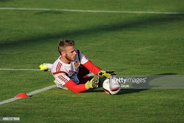 David de Gea in action during the Spain training session at Ciudad de Futbol on September 2 2015 in Las Rozas Spain