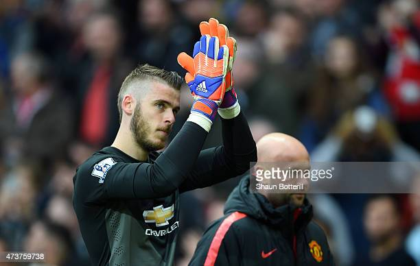 David De Gea of Manchester United applauds the crowd as he is substituted during the Barclays Premier League match between Manchester United and...