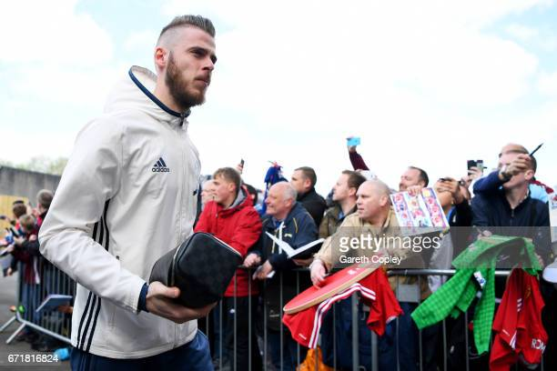 David De Gea of Manchester United arrives at the stadium for the Premier League match between Burnley and Manchester United at Turf Moor on April 23...