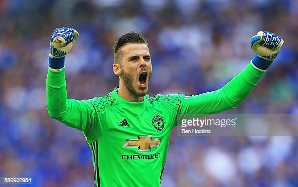 David De Gea of Manchester United celebrates after his sides first goal during The FA Community Shield match between Leicester City and Manchester...