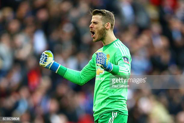David De Gea of Manchester United celebrates after his team opened the scoring during The Emirates FA Cup semi final match between Everton and...