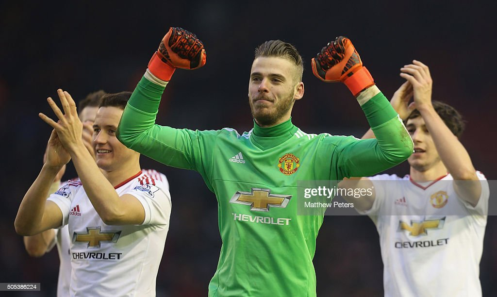 <a gi-track='captionPersonalityLinkClicked' href=/galleries/search?phrase=David+de+Gea&family=editorial&specificpeople=3000749 ng-click='$event.stopPropagation()'>David de Gea</a> of Manchester United celebrates after the Barclays Premier League match between Liverpool and Manchester United at Anfield on January 17 2016 in Liverpool, England.