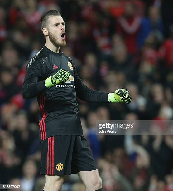 David de Gea of Manchester United celebrates after the EFL Cup Fourth Round match between Manchester United and Manchester City at Old Trafford on...