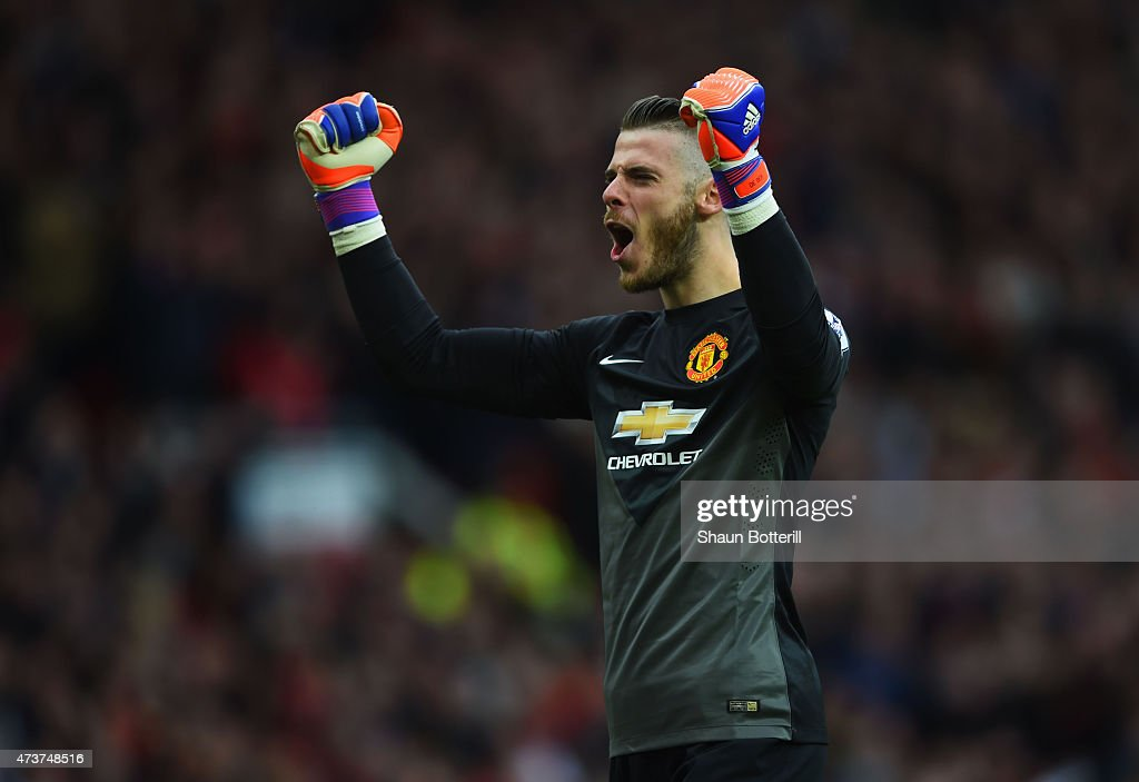 David De Gea of Manchester United celebrates as Ander Herrera scores their first goal during the Barclays Premier League match between Manchester United and Arsenal at Old Trafford on May 17, 2015 in Manchester, England.