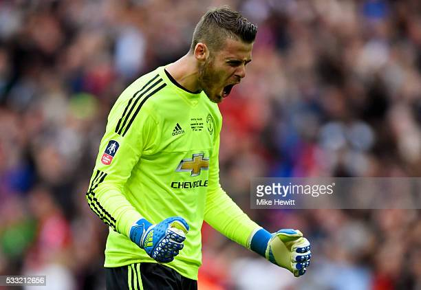 David De Gea of Manchester United celebrates as Juan Mata of Manchester United scores their first goal during The Emirates FA Cup Final match between...