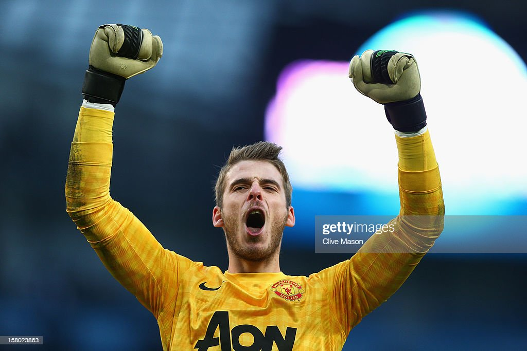 David De Gea of Manchester United celebrates at the end of the Barclays Premier League match between Manchester City and Manchester United at the Etihad Stadium on December 9, 2012 in Manchester, England.