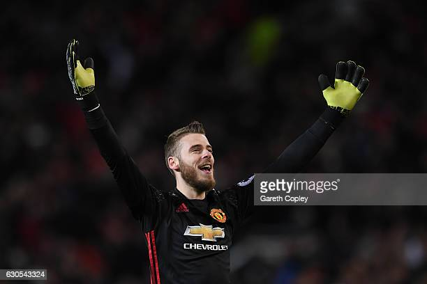 David De Gea of Manchester United celebrates during the Premier League match between Manchester United and Sunderland at Old Trafford on December 26...