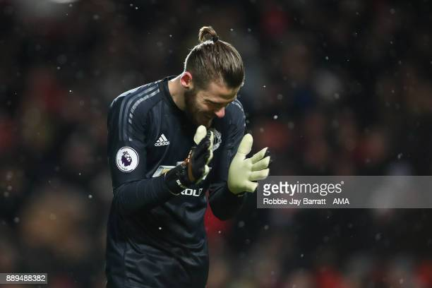David de Gea of Manchester United celebrates during the Premier League match between Manchester United and Manchester City at Old Trafford on...