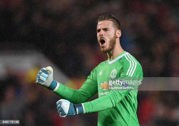 David De Gea of Manchester United celebrates during the UEFA Champions League Group A match between Manchester United and FC Basel at Old Trafford on...