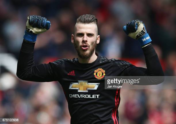 David De Gea of Manchester United celebrates his sides first goal during the Premier League match between Manchester United and Swansea City at Old...