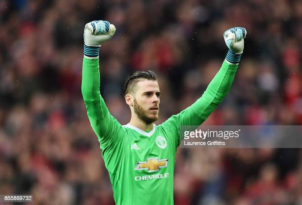 David De Gea of Manchester United celebrates his side's first goal during the Premier League match between Manchester United and Crystal Palace at...