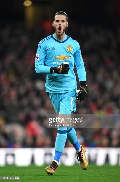 David De Gea of Manchester United celebrates his sides goal during the Premier League match between Arsenal and Manchester United at Emirates Stadium...
