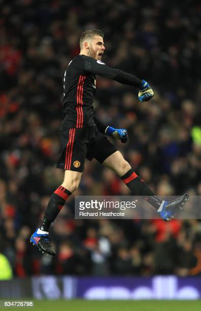 David De Gea of Manchester United celebrates his side's second goal during the Premier League match between Manchester United and Watford at Old...