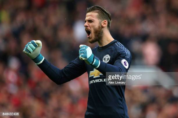 David De Gea of Manchester United celebrates his sides second goal during the Premier League match between Manchester United and Everton at Old...