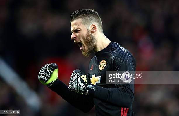 David De Gea of Manchester United celebrates his team's first goal during the Premier League match between Manchester United and Tottenham Hotspur at...
