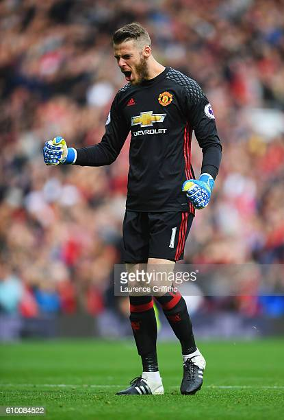 David De Gea of Manchester United celebrates scoring his sides scoring during the Premier League match between Manchester United and Leicester City...