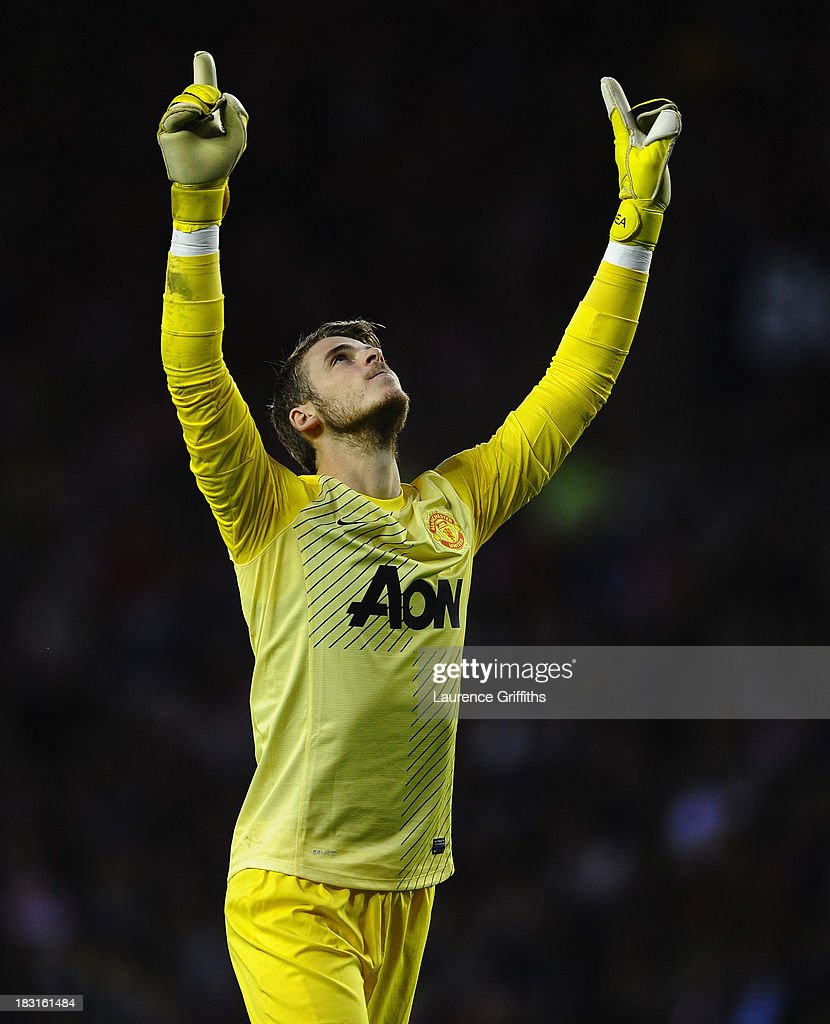 David De Gea of Manchester United celebrates the first goal during the Barclays Premier League match between Sunderland and Manchester United at Stadium of Light on October 5, 2013 in Sunderland, England.