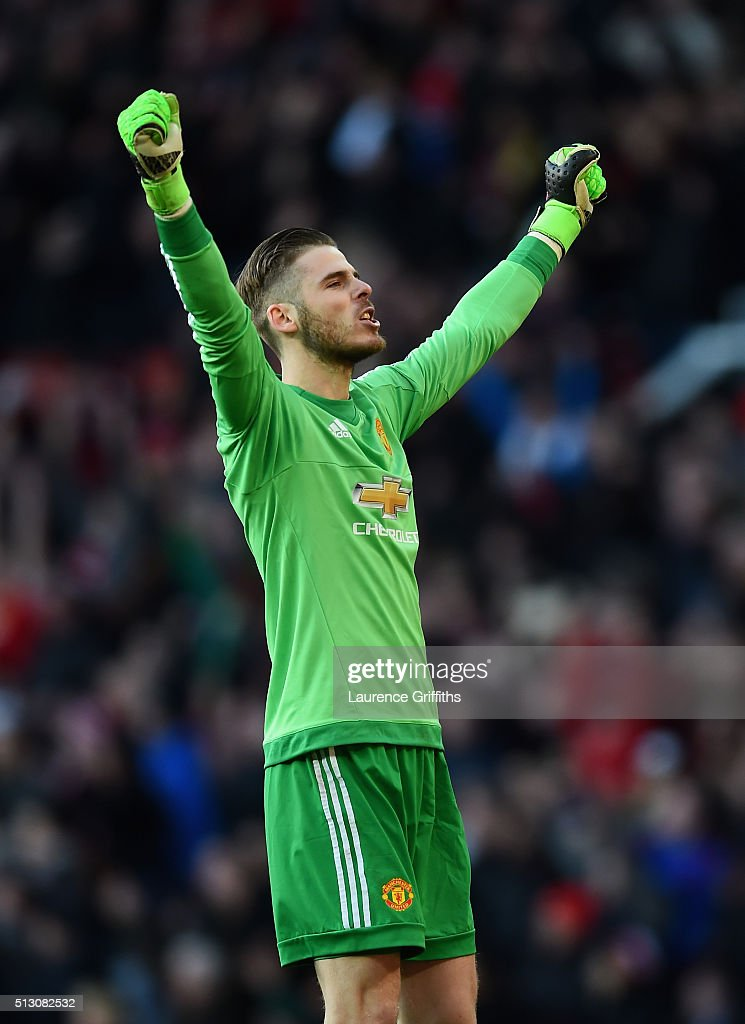 David De Gea of Manchester United celebrates victory during the Barclays Premier League match between Manchester United and Arsenal at Old Trafford Stadium on February 28, 2016 in Manchester, England.