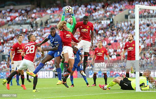 David De Gea of Manchester United collects the ball in mid air during The FA Community Shield match between Leicester City and Manchester United at...