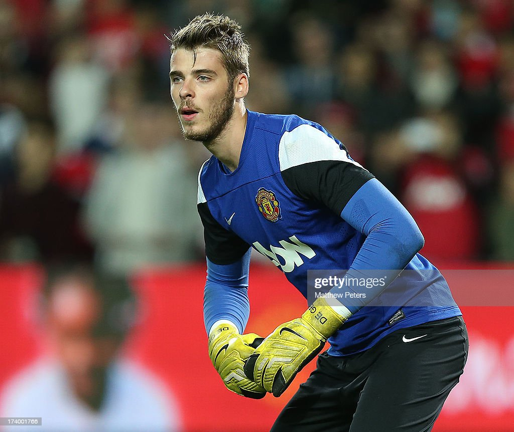 <a gi-track='captionPersonalityLinkClicked' href=/galleries/search?phrase=David+de+Gea&family=editorial&specificpeople=3000749 ng-click='$event.stopPropagation()'>David de Gea</a> of Manchester United in action during a first team training session as part of their pre-season tour of Bangkok, Australia, China, Japan and Hong Kong on July 19, 2013 in Sydney, Australia.