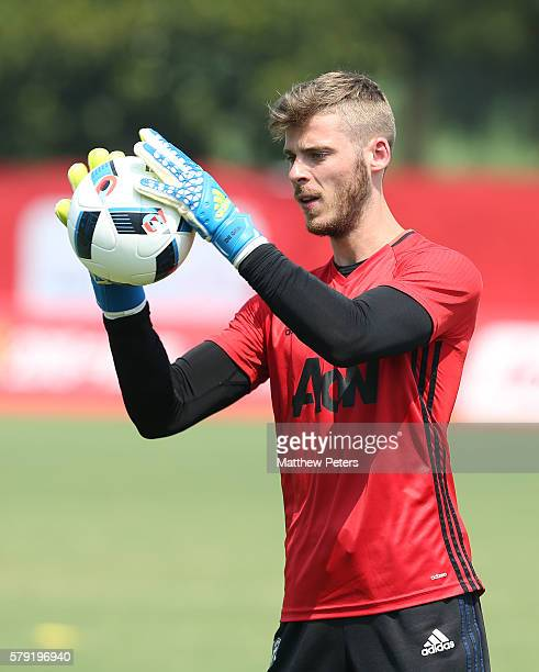 David de Gea of Manchester United in action during a first team training session as part of their preseason tour of China at Century Park on July 23...