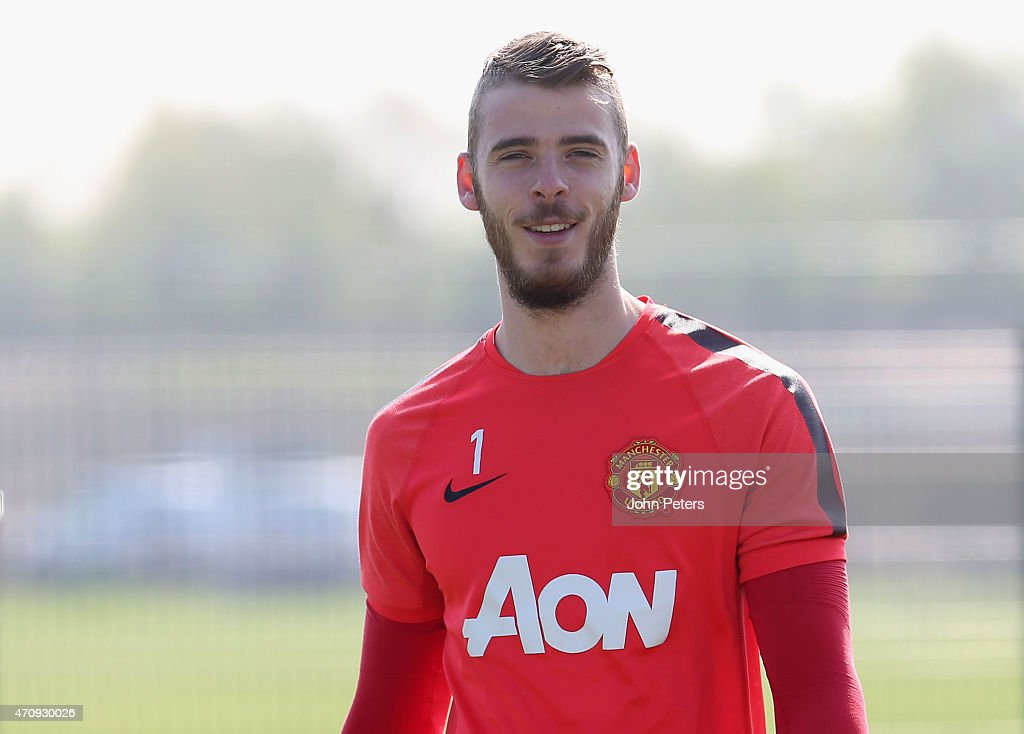 <a gi-track='captionPersonalityLinkClicked' href=/galleries/search?phrase=David+de+Gea&family=editorial&specificpeople=3000749 ng-click='$event.stopPropagation()'>David de Gea</a> of Manchester United in action during a first team training session at Aon Training Complex on April 24, 2015 in Manchester, England.