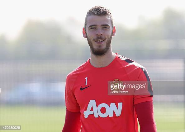 David de Gea of Manchester United in action during a first team training session at Aon Training Complex on April 24 2015 in Manchester England