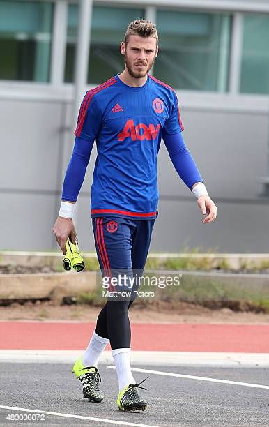 David de Gea of Manchester United in action during a first team training session at Aon Training Complex on August 5 2015 in Manchester England