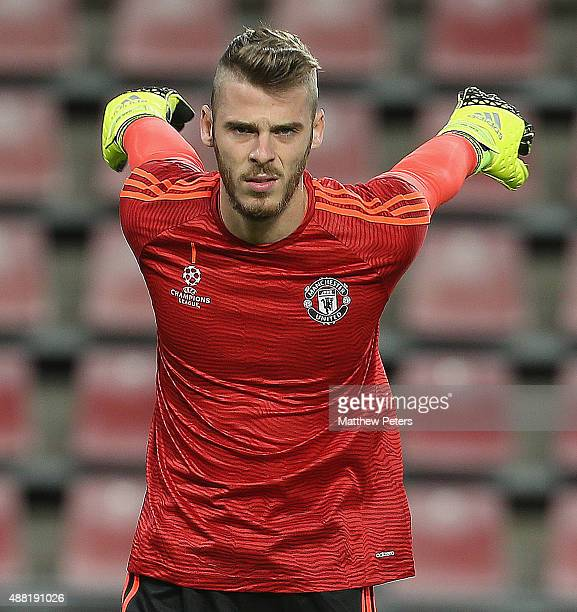 David de Gea of Manchester United in action during a first team training session ahead of their UEFA Champions League match against PSV Eindhoven on...