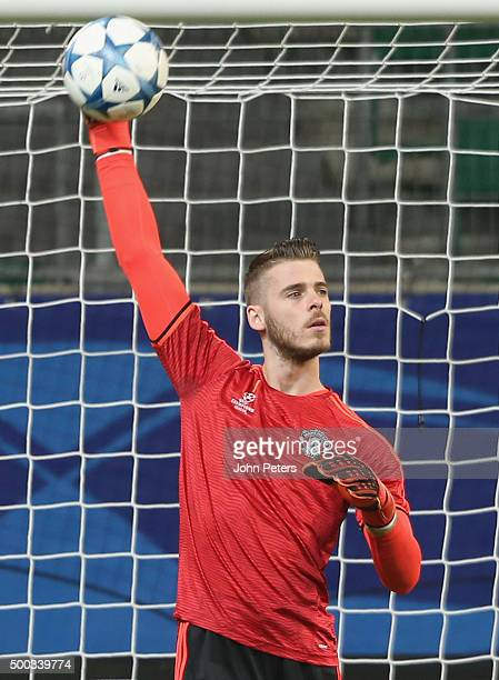 David de Gea of Manchester United in action during a first team training session on the eve of their UEFA Champions League match against Wolfsburg on...