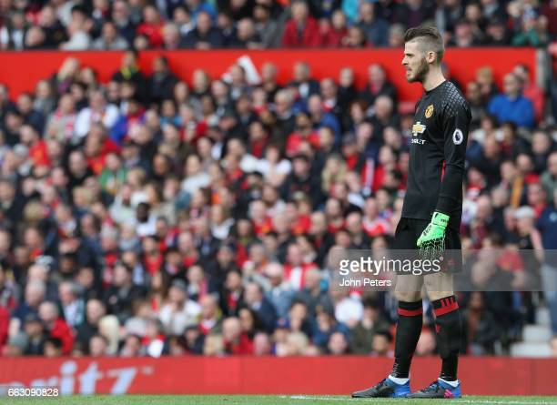 David de Gea of Manchester United in action during the Premier League match between Manchester United and West Bromwich Albion at Old Trafford on...