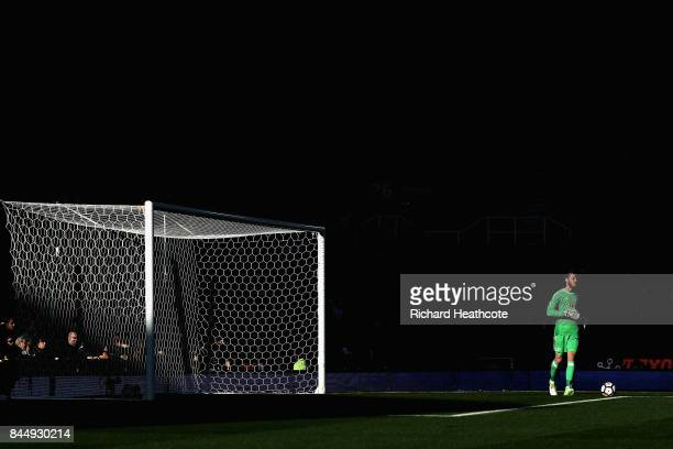 David De Gea of Manchester United in action during the Premier League match between Stoke City and Manchester United at Bet365 Stadium on September 9...