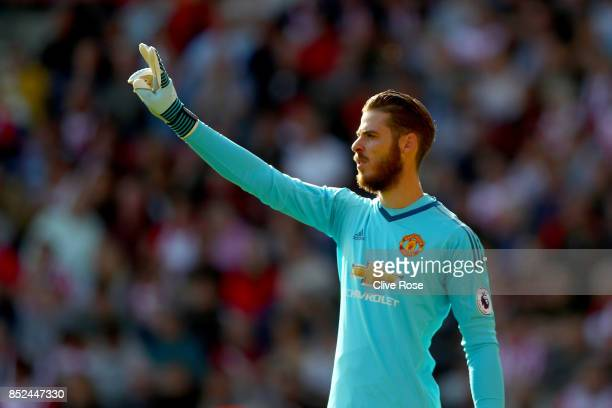 David de Gea of Manchester United in action during the Premier League match between Southampton and Manchester United at St Mary's Stadium on...