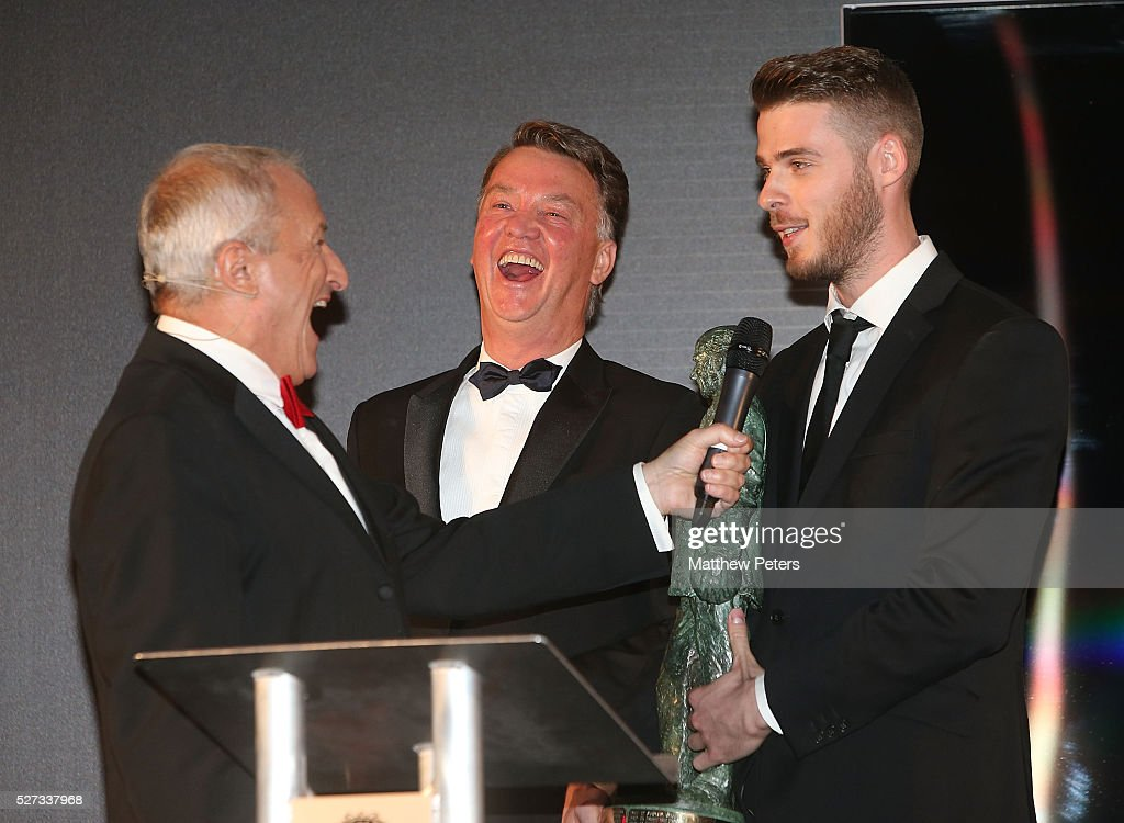 David de Gea of Manchester United is interviewed by host Jim Rosenthal at the club's annual Player of the Year awards at Old Trafford on May 2, 2016 in Manchester, England.