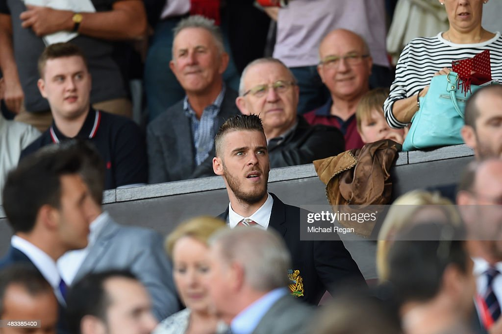 David De Gea of Manchester United is seen on the stand during the Barclays Premier League match between Manchester United and Tottenham Hotspur at Old Trafford on August 8, 2015 in Manchester, England.