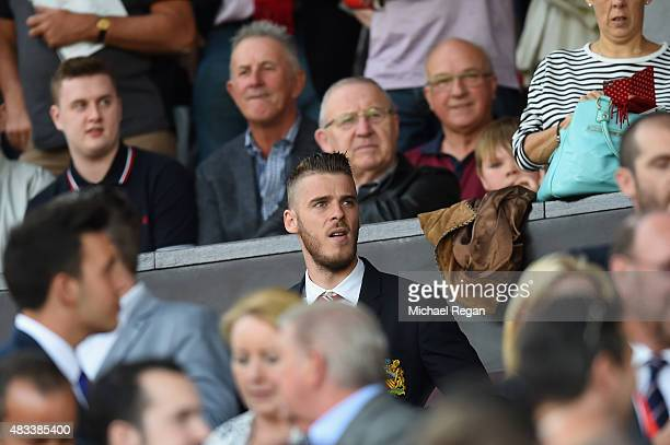 David De Gea of Manchester United is seen on the stand during the Barclays Premier League match between Manchester United and Tottenham Hotspur at...