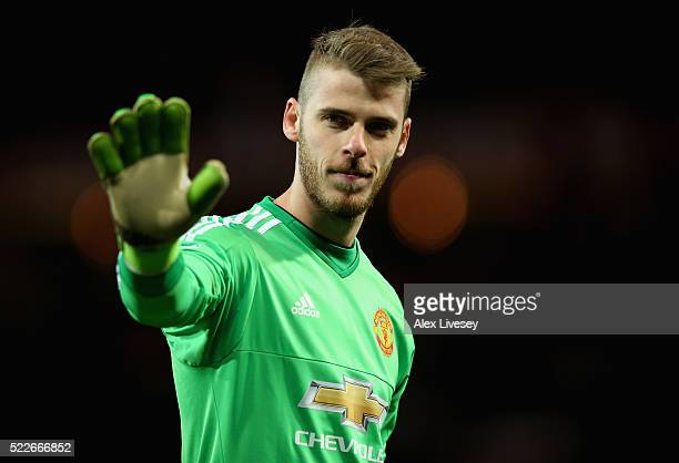David De Gea of Manchester United looks on during the Barclays Premier League match between Manchester United and Crystal Palace at Old Trafford on...