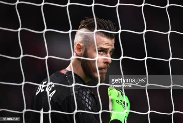 David De Gea of Manchester United looks on during the Premier League match between Manchester United and Everton at Old Trafford on April 4 2017 in...