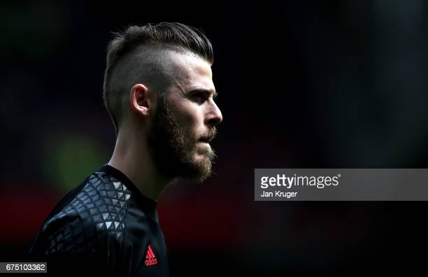 David De Gea of Manchester United looks on during the Premier League match between Manchester United and Swansea City at Old Trafford on April 30...