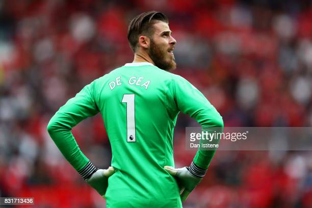 David De Gea of Manchester United looks on during the Premier League match between Manchester United and West Ham United at Old Trafford on August 13...