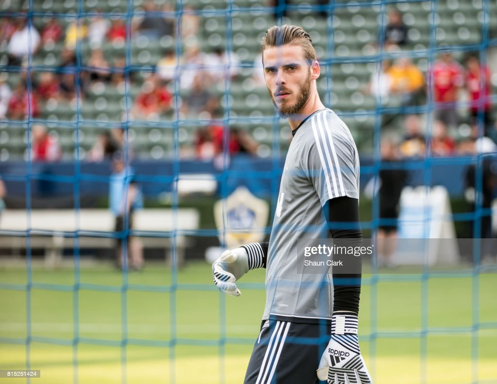 David De Gea #1 of Manchester United prior to the Los Angeles Galaxy's friendly match against Manchester United at the StubHub Center on July 15, 2017 in Carson, California. Manchester United won the match 5-2.