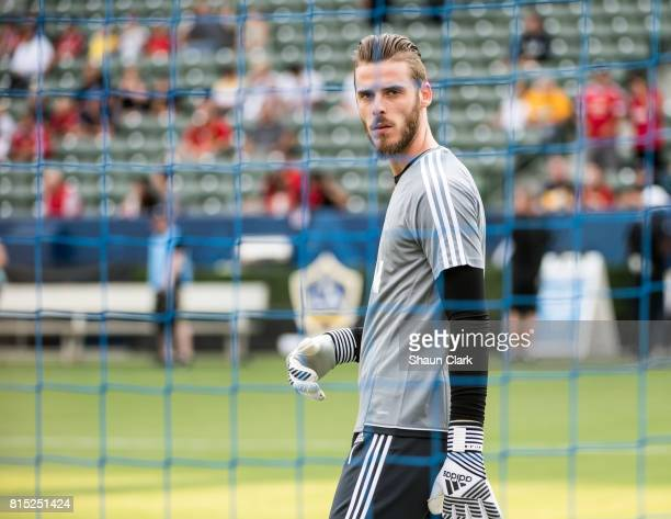 David De Gea of Manchester United prior to the Los Angeles Galaxy's friendly match against Manchester United at the StubHub Center on July 15 2017 in...
